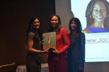 Jocelyn Giangrande receiving honor from Directors Kirti Surati and Jagruti Panwala-AAHOA